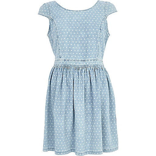 Light wash denim polka dot dress