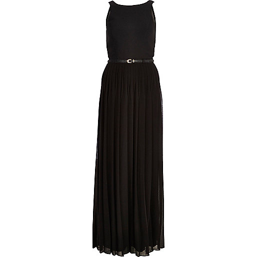 Black pleated sleeveless maxi dress