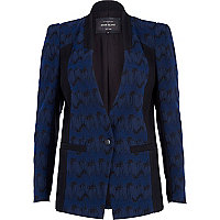 Navy jacquard colour block blazer
