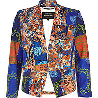 Blue mixed print scuba jacket