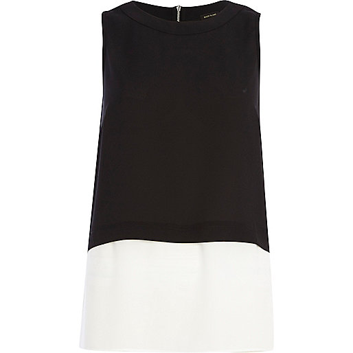 Black and white double layer tank top