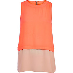 Bright pink double layer tank top