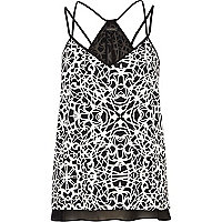 Black and white abstract print cami top