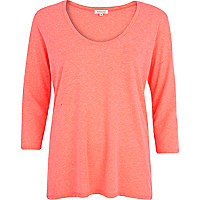 Pink neppy low scoop neck t-shirt