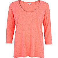Pink neppy low scoop neck t-shirt