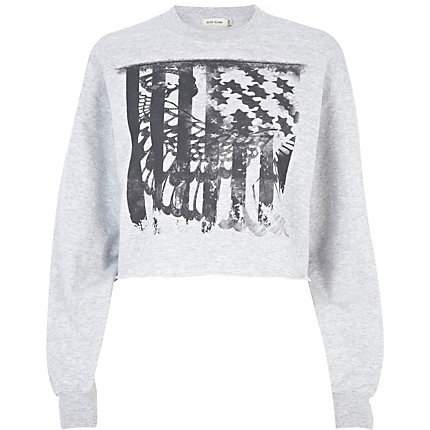 Grey American flag print cropped sweatshirt