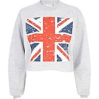 Grey Union Jack print cropped sweatshirt