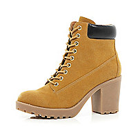Light brown lace up worker boots