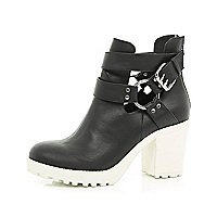 Black cut out cleated sole ankle boots