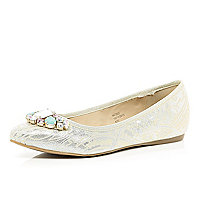 Gold embellished ballet pumps