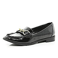 Black patent snaffle trim loafers