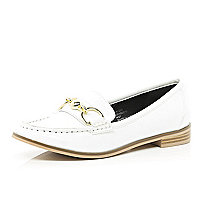 White patent snaffle trim loafers