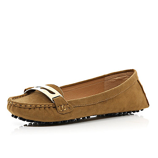 Brown metal trim moccasins