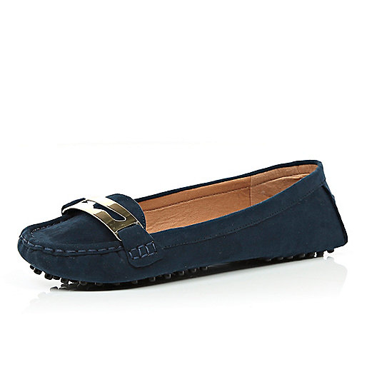 Navy moccasin driving shoes