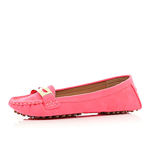 Pink moccasin driving shoes