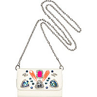 White embellished cross body phone case
