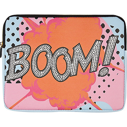 Orange Skinnydip boom print tablet pouch