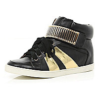 Black metallic trim hidden wedge high tops