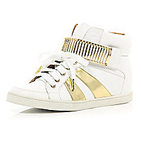 White metallic trim hidden wedge high tops