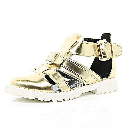 Gold metallic cut out cleated sole shoes