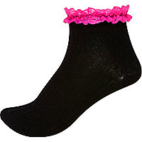 Black neon frill ankle socks