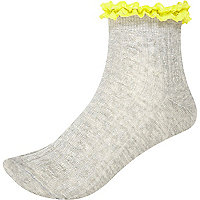 Grey marl neon trim ankle socks