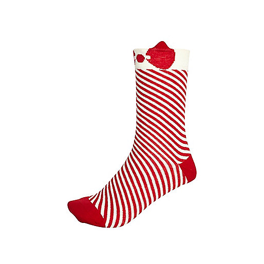 Red and white stripe bow trim socks