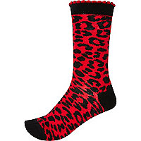Black and red leopard print socks