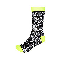 Black snake print socks