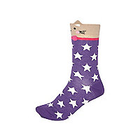 Purple star print cat ear socks