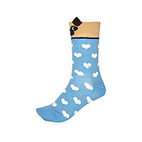 Blue heart print pug ears socks