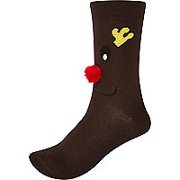 Brown novelty Rudolph Christmas socks