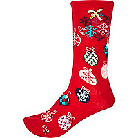 Red novelty bauble Christmas socks