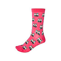 Pink novelty Christmas pudding socks