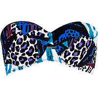 Blue mixed animal print bustier bikini top