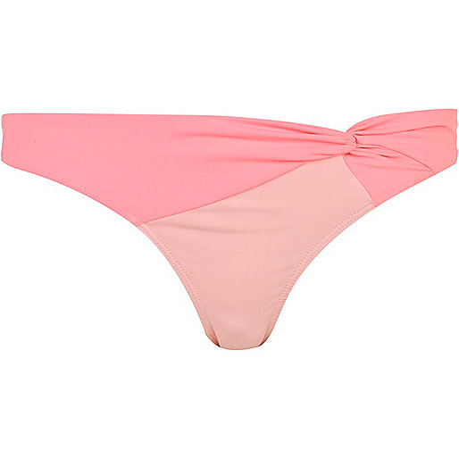 Light pink twisted bikini bottoms