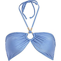 Light blue plaited trim bandeau bikini top