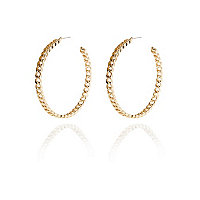 Gold tone curb chain hoop earrings