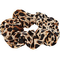 Black leopard print scrunchie