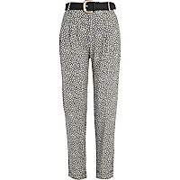 Black and white abstract print trousers