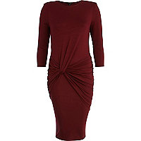 Dark red twist front bodycon dress