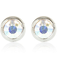 Silver tone gem stone round stud earrings