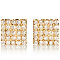 Gold tone faux pearl square stud earrings