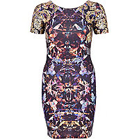 Purple foil print bodycon dress