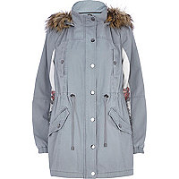 Light grey rose back print parka jacket