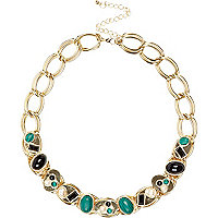 Gold tone gem stone curb chain necklace