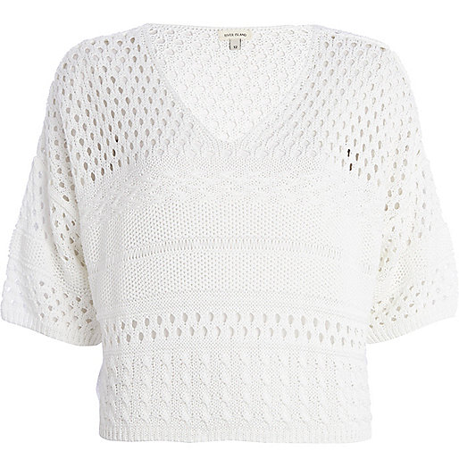 White mixed stitch cropped jumper