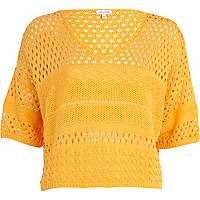 Orange mixed stitch cropped jumper