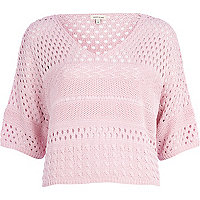 Light pink mixed stitch cropped jumper