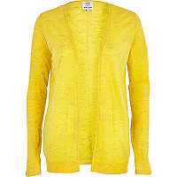 Yellow linen marl open front cardigan